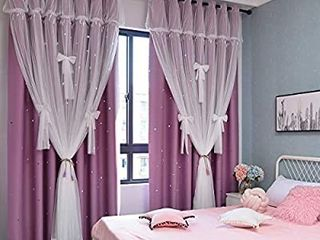 Yancorp Blackout Curtains for Bedroom living Room Darkening Pink Curtain White Sheer Window linen Tie Backs Drapes Star Cutout Kitchen Gray Blue Purple 84 inch 96