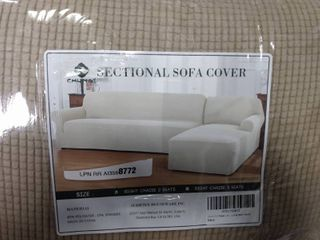2 Piece l Shape Sectional Sofa Slipcovers with Right Chaise Sleeves Jacquard High Stretch Furniture Protector 2 Seater Couch Cover for living Room