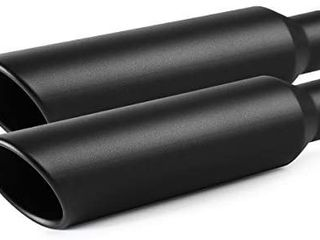 Exhaust Tip 2 5  Inlet to 4  Outlet 2PCS  A KARCK Black Coated 18  long Weld on Exhaust Tailpipe