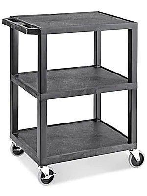 Uline 3 Shelf Utility Cart with Flat Shelves