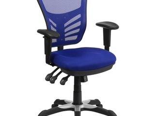 Mid Back Blue Mesh Swivel Task Chair with Triple Paddle Control