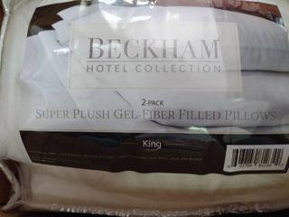 Beckham Hotel Collection Gel Pillows  2 pack    luxury Plush Gel Pillow   Queen