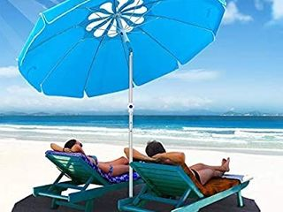 MOVTOTOP Beach Umbrella UV 50  6 5ft Umbrella with Sand Anchor   Tilt Aluminum Pole