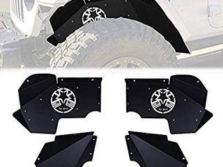 STEGODON Front Inner Fender liners Star Flag logo Muddy Water Fender Black lightweight Steel Fender for 2007 2018 Jeep Wrangler JK JKU 4WD Sahara Rubicon Sport 2 4 Doors