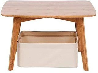 ZEN S Bamboo Small Coffee Table Square Tatami Table with a Storage Basket Furniture for living Room
