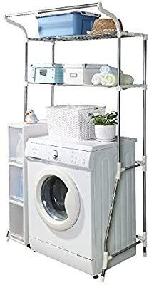 BAOYOUNI 2 layer Over Washing Machine Storage Rack Utility Metal Bathroom Shelf 6 Hook Space Saver Width Adjustable Organization for laundry Room Toilet  62 101cm  White