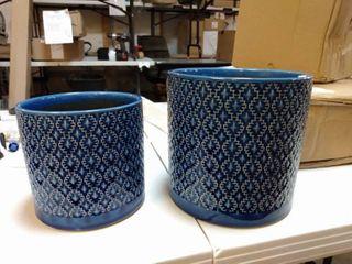 SET OF 2 Blue Flower Pots