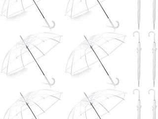 Pack of 12 Wedding Style Stick Umbrellas large Canopy Windproof Auto Open J Hook Handle