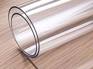 Thick Clear Table Cover  48 x 24 Inch  Clear Table Protector  Water Resistant Clear Desk Pad Desk Mat for Coffee Table  Writing Desk