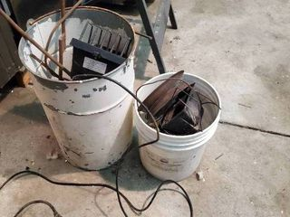 Two Buckets with Work lights and Misc Metal