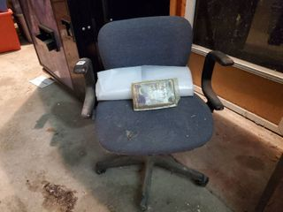 Computer Chair  Roll of Plastic and Polishing Bonnet