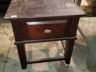 Wood Side Table with Drawer
