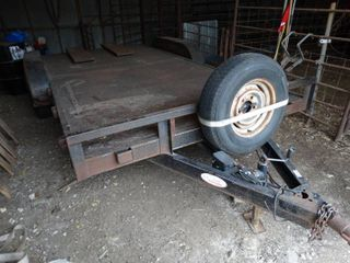 load Trail dual axle 16 ft metal deck car trailer w  ramps   spare tire