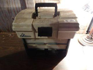 Tackle box w  various fishing tackle   weights