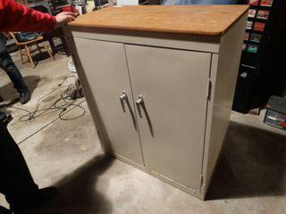 2 door metal cabinet w  work top