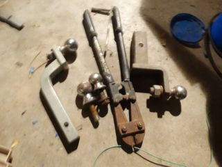 lot of 4 Hitches and large bolt Cutters