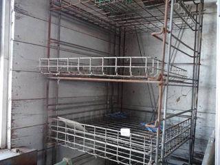 Old metal bread rack w  trays