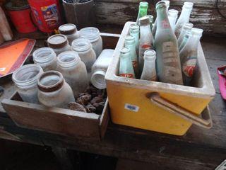 lot of old glass bottles   jars