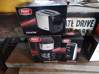 New small kitchen appliances in boxes
