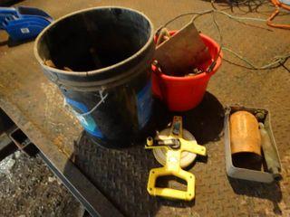 Buckets w  misc  tape measure