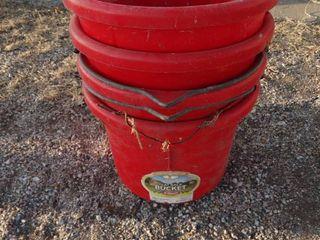lot of feed buckets
