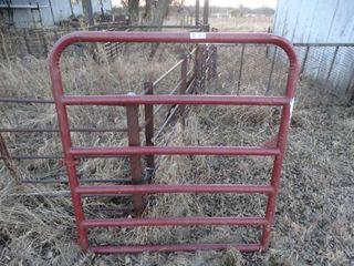 Red tube farm walk through gate
