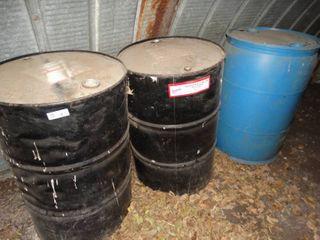 2 metal   1 plastic 55 gallon barrels