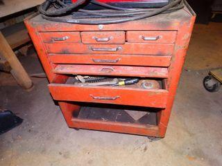Tool box on wheels w  various tools