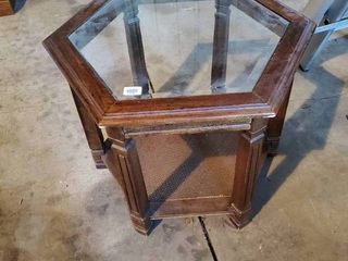 Wood Side table with Glass Insert