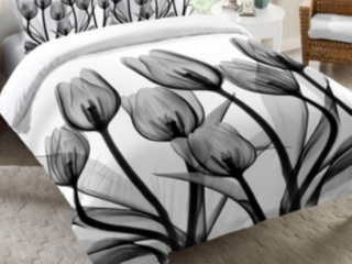 laural Home Monochromatic Black Tulips Queen Comforter  D1