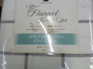 3 Piece Flannel Duvet Set  King  D1