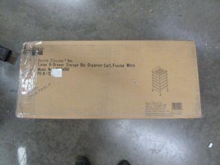 6 Drawer Rolling Storage Bin Organizer Cart   White