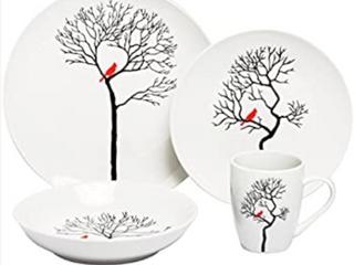 32 Piece Melange Coupe Dinnerwear Set  Bird in Forest  B1