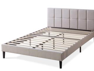 Zinus lottie Beige Queen Upholstered Platform Bed Frame With Short Headboard  B3
