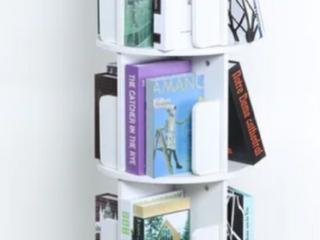 White 4 Sided Revolving Media Storage Bookcase  B3