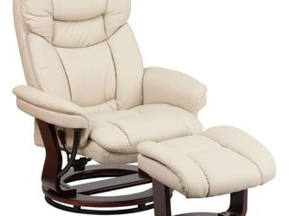 Flash Furniture Swivel Recliner and Ottoman in Beige leather