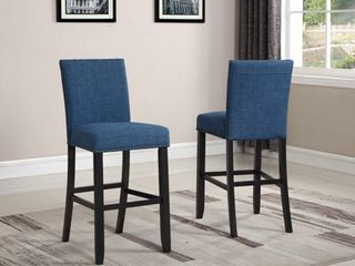 Roundhill Biony Blue Fabric Bar Stools with Nailhead Trim  Set of 2