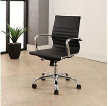 Samuel Silver Finish Adjustable leather Office Chair by Abbyson  Retail 267 49