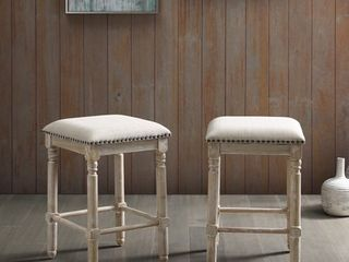 Arnhem Wood Tan Upholstered Counter Height Stool  Set of 2