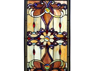 River of Goods 13270 Tiffany Style Stained Glass 26 Inch High Amber Medallion Window Panel