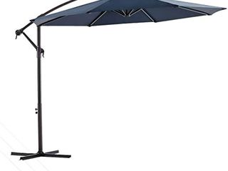 KITADIN 10Ft Cantilever Patio Hanging Offset Umbrella   Outdoor Market Umbrellas with Crank lift   Cross Base   Navy Blue  Appears to have been Used   Please See Photos