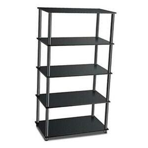 You Wish 5 Tier Shelving Unit Wooden Rack   Tall Standing Shelf   Black   Free Stand Unit  56  H x 29 6  W x 15 5  D  No Tools Needed for Set up