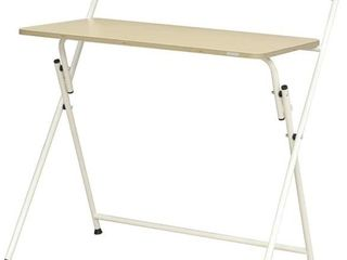 SOFSYS Modern Folding Desk for Small Space  White   Oak  Scratched   has Broken Piece   Please See Photos
