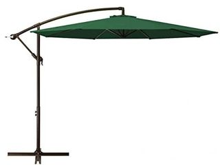 DOMICARE 10ft Offset Hanging Patio Umbrella with 8 Ribs  Outdoor Market Umbrella Easy Tilt Adjustment  Cantilever Umbrella for Backyard  Poolside  lawn and Garden  Dark green