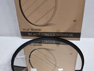 Black Round Wall Mirror   27 5 Inch large Round Mirror   Rustic Accent Mirror from HBCY Creations   Damaged  Broke    Please See Photos