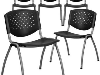 Flash Furniture 5 Pack HERCUlES Series 880 lb  Capacity Black Plastic Stack Chair with Titanium Gray Powder Coated Frame