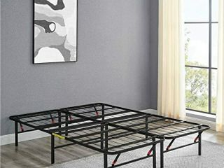 AmazonBasics Foldable  14  Metal Platform Bed Frame with Tool Free Assembly  No Box Spring Needed   Queen