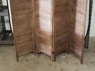 67in Tall Wooden 4 Panel Foldable Room Devider  Each Panel Is 16in Wide