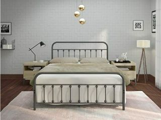 AMBEE21 Vintage Queen Metal Bed Frame with Headboard and Footboard a Platform Wrought Iron Heavy Duty Solid Sturdy Metal Slat Charcoal Grey No Box Spring Needed Mattress Foundation