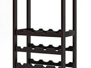Homfa Bamboo Wine Rack Free Standing Wine Holder Display Shelves with Glass Holder Rack  16 Bottles Stackable Capacity for Home Kitchen  Espresso